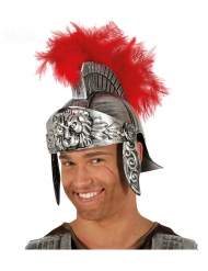 gladiator hjelm med fjer rød - voksen