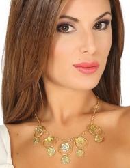 Halskæde med ringe guldfarvet - voksen