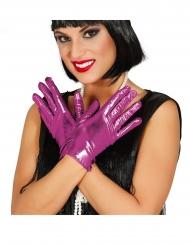Handsker i metallisk lilla 22 cm - kvinde