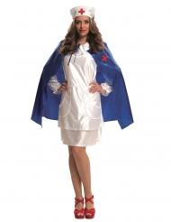 Sygeplejerske kostume med kappe og hovedbeklædning - kvinde