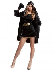 Bokser kostume med handsker sort - kvinde