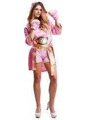 Bokser kostume med handsker lyserød - kvinde