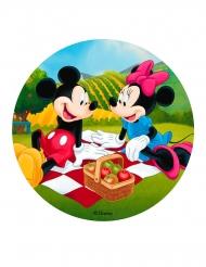 Spiselig kagedekoration disk Mickey og Minnie™ picknick 20 cm