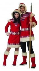 Rød eskimo kostume - mand