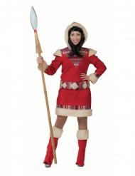 Rød eskimo kostume - kvinde