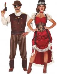 Par kostume steampunk rød - voksen