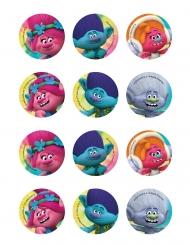12 Sukkerdekorationer til småkager Trolls™ 5,8 cm