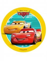 Spiselig kagedekoration disk Cars™ gul 14,5 cm