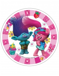 Spiselig kagedekoration disk Trolls™ lysrød 21 cm