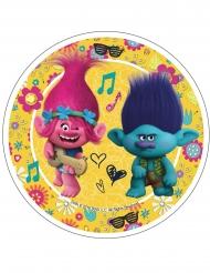 Spiselig kagedekoration disk Trolls™ gul21 cm
