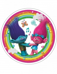 Spiselig kagedekoration disk Trolls™ regnbuefarvet 21 cm