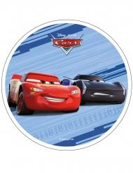 Spiselig kagedekoration disk Cars™ blå 21 cm