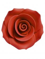 6 Små sukkerdekorationer rød rose 5 cm