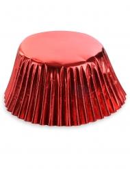 50 Cupcake forme metallisk rød 7 cm