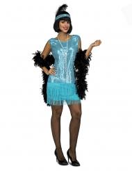 Charleston kostumemed turkis palietter - kvinde