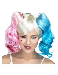 Lyserød og blå manga paryk - kvinde