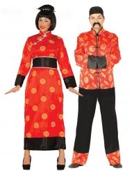 Par kostume kinesisk rød - voksen