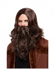 Brun viking paryk og skæg - voksen