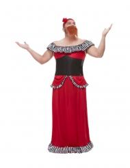 Kvinde med rødt skæg kostume - mand