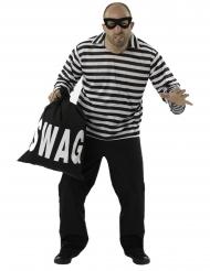 Stribet røver kostume - mand