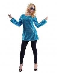 Tunika med palietter turkis - kvinde