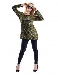 Guldfarvet tunika med palietter - kvinde