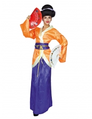 Geisha kostume orange og lilla- kvinde