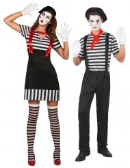 Par kostume sort og hvid mimer - voksen