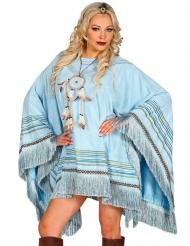 Luksus indianer poncho blå - voksen