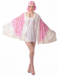 Englevinge poncho kostume lyserød - kvinde