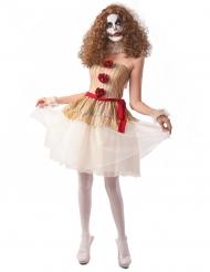 Skræmmende klovn kostume beige - kvinde