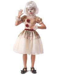 Skræmende klovne kostume beige - pige