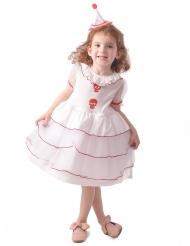 klovne kostume dødningehoved hvid - pige