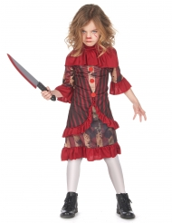 Gruopvækkende klovne kostume rød - pige