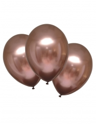 6 Latex balloner skinnende rosaguld 28 cm