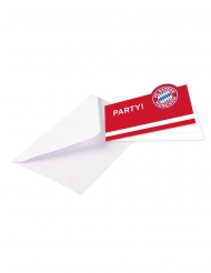 8 Invitationskort med kuverter FC Bayern Munich™ 13 x 8 cm