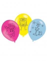 6 Latex balloner SvampeBob Firkant™ 27 cm