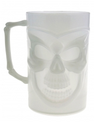 Selvlysende dødningehoved ølkrus 13 cm