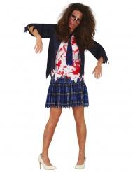 Zombie skolepige kostume blå - kvinde