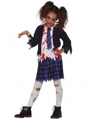 Skolepige zombie kostume blå