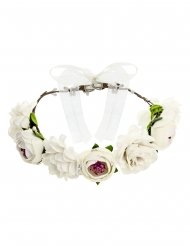 Blomsterkrone hvid 17 cm