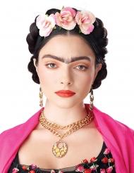 Paryk med oprullede fletninger og blomster - kvinde