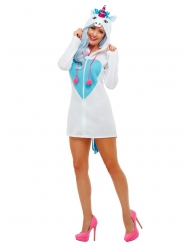 Enhjørninge kjole med hætte kostume - kvinde