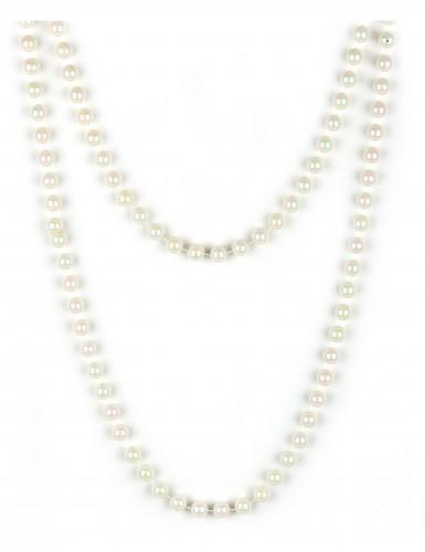 Halskæde med perlemorfarvede perler