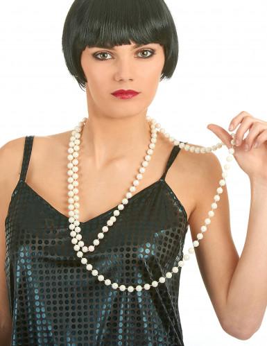Halskæde med perlemorfarvede perler-1