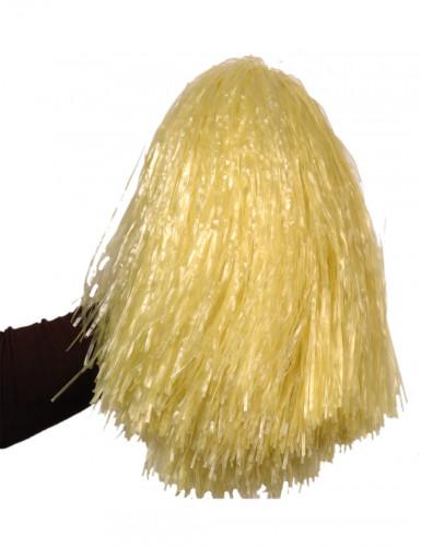 Pompon gul strå metallisk
