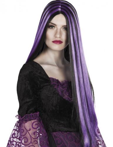 Lang sort og lilla paryk Halloween