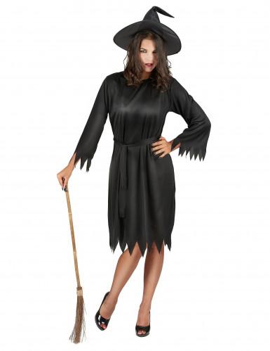 Sort Halloween heksekostume til voksne
