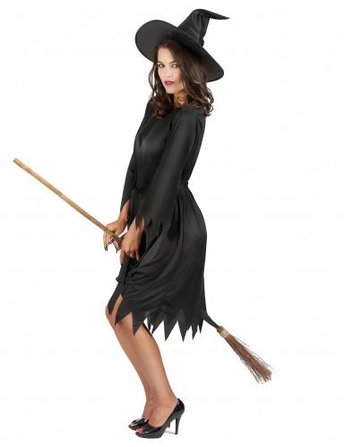 Sort Halloween heksekostume til voksne-1