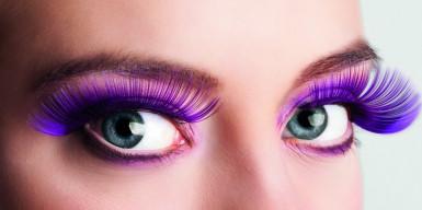 Lange lilla falske øjenvipper voksen